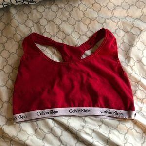 Red Calvin Klein bra